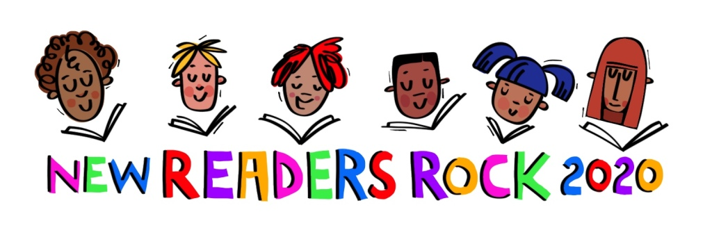 New Readers Rock 2020 logo with diverse kids reading