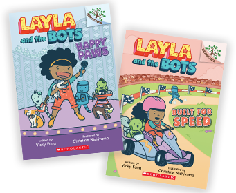 Layla and the Bots book covers